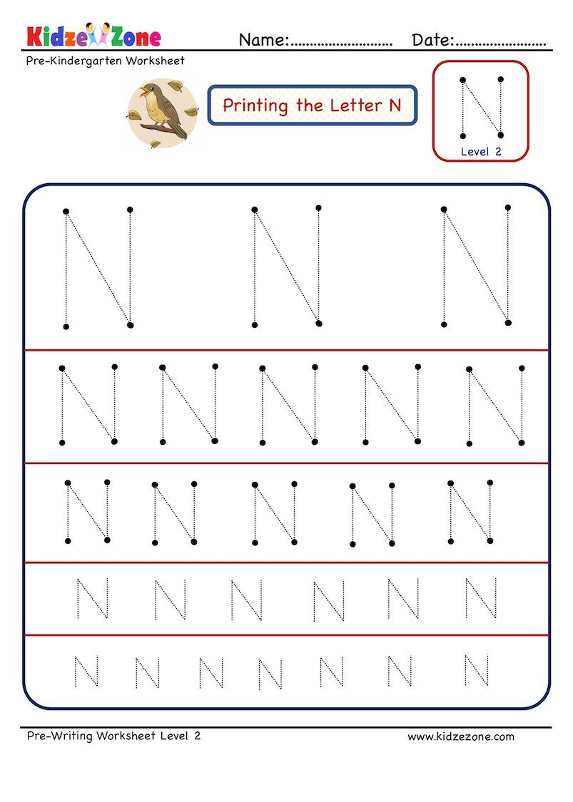 Pre Writing Letter N Tracing worksheet Different Sizes
