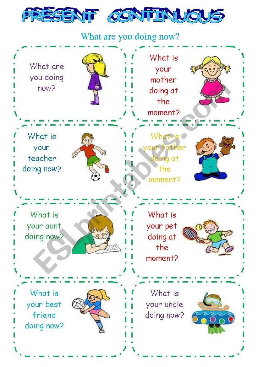 Present Continuous Worksheets Present Continuous Speaking Cards Esl Worksheet by Arielka
