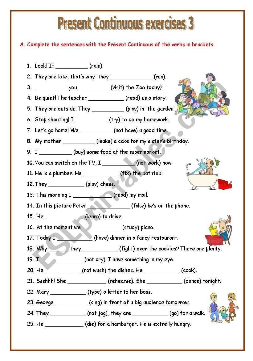 Present Progressive Worksheet 4 Worksheet Free Grammar Worksheets Fourth Grade 4 Verbs