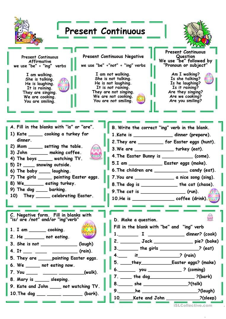 Present Progressive Worksheet English Esl Present Continuous Progressive Tense