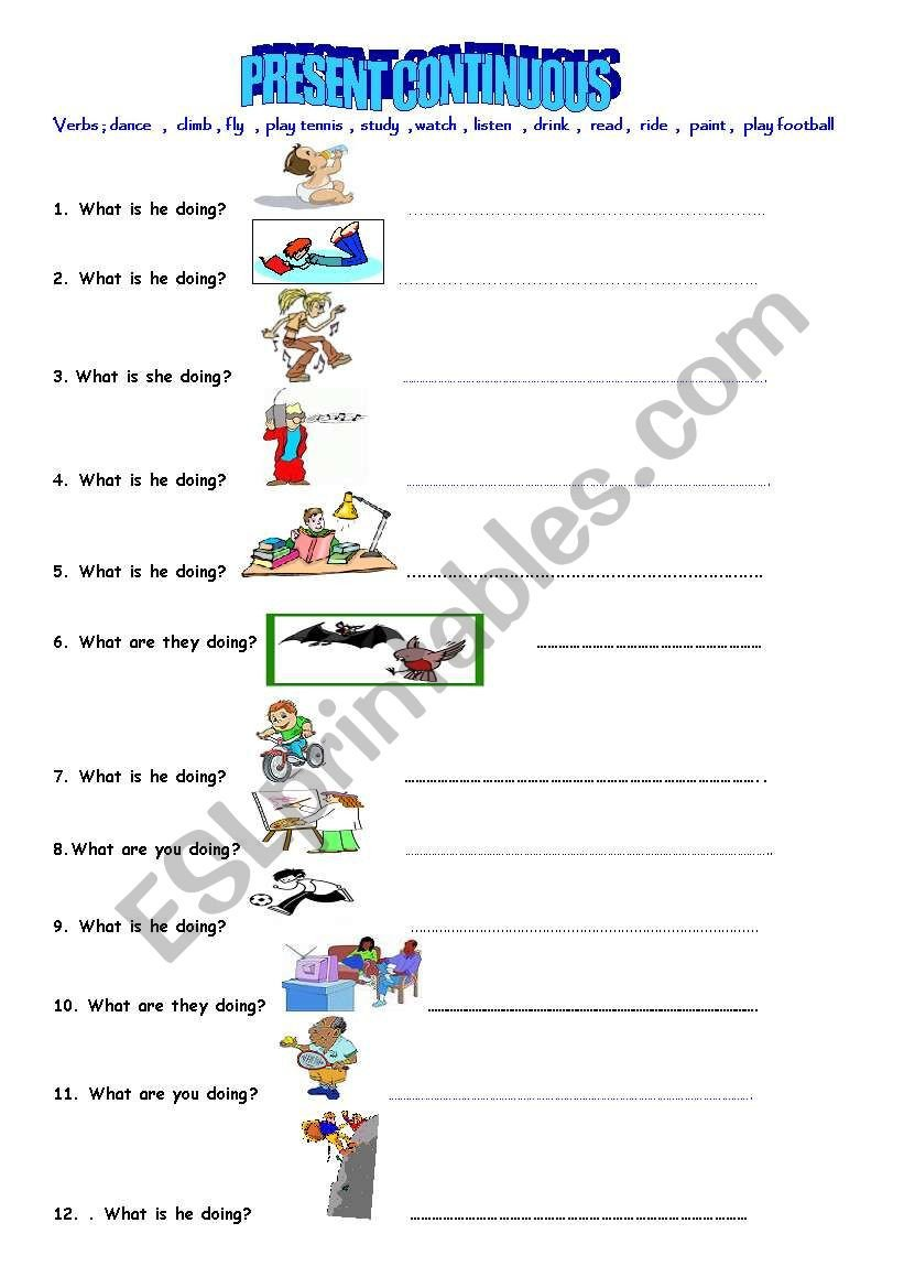 Present Progressive Worksheet Present Continuous Worksheet Esl Worksheet by Daylight28