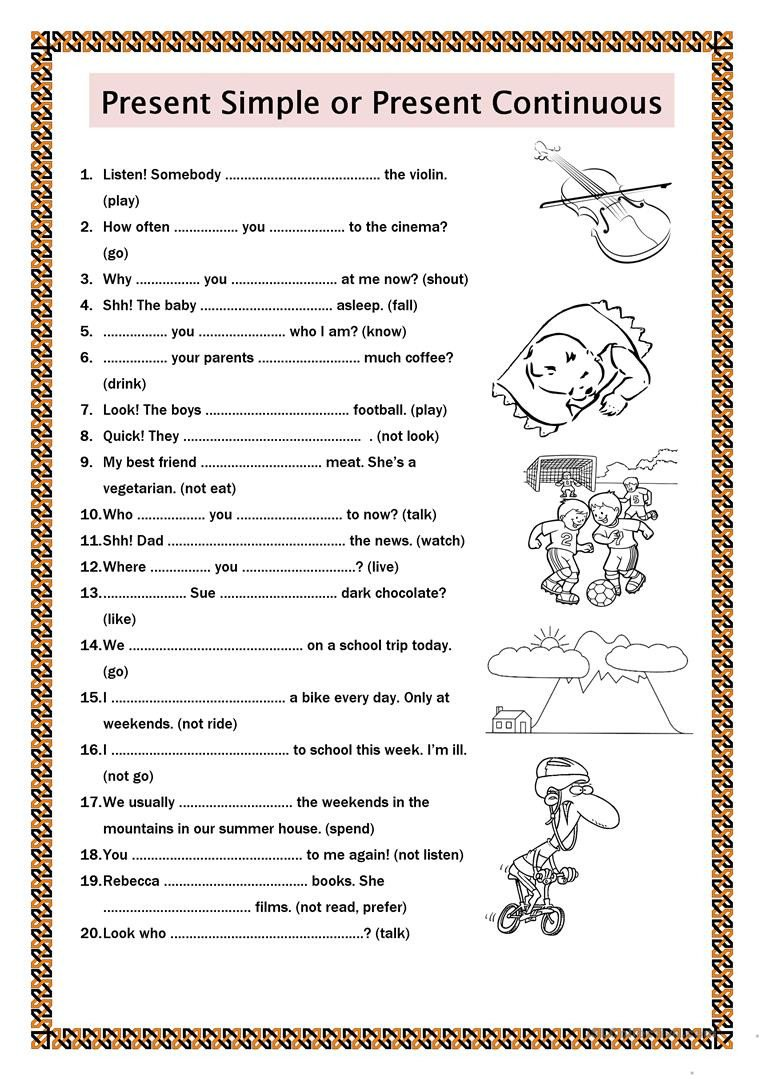 Present Progressive Worksheet Present Simple or Present Continuous English Esl