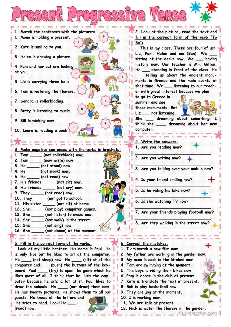 Present Progressive Worksheets Present Progressive Tense Worksheet Free Esl Printable