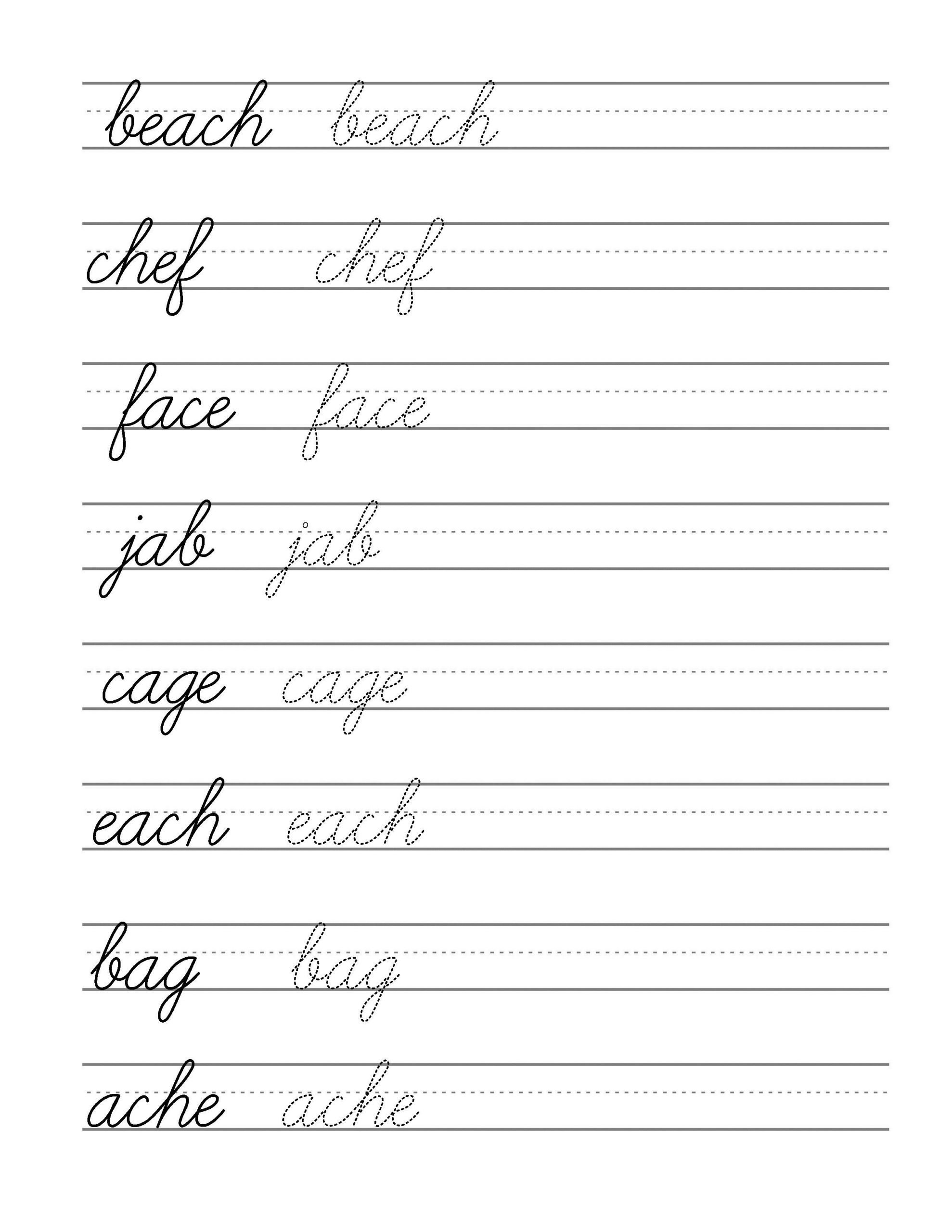Printable Cursive Writing Worksheets Pdf Free Beginning Cursive Writing Template Part 3