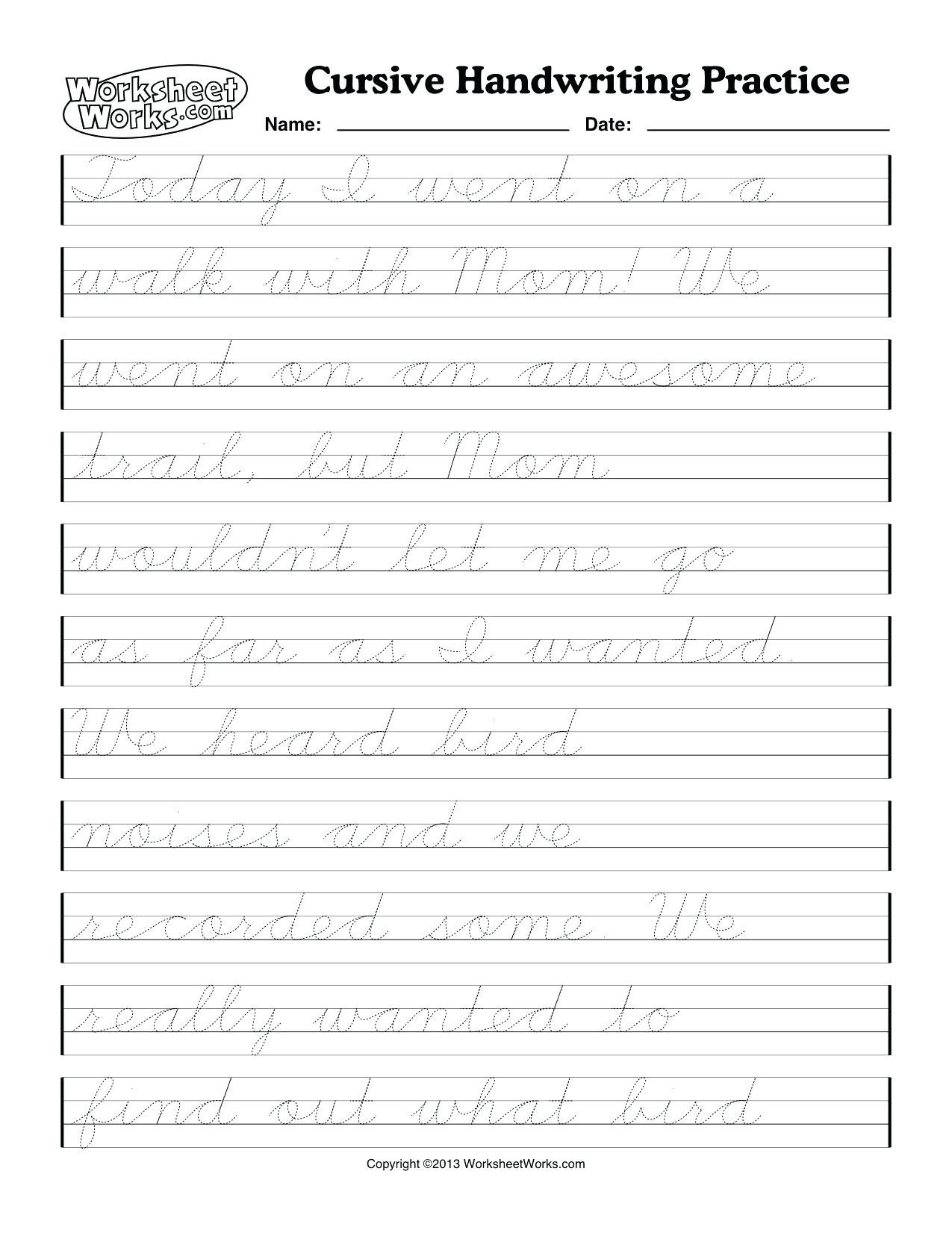 math worksheet Printable Cursive Writing Sheets Math