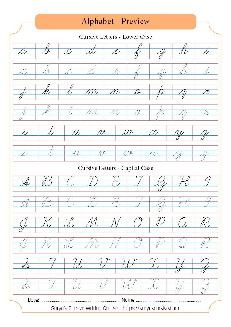 cursive letters suryascursive alphabetpreview small writing letter big and capital alphabet