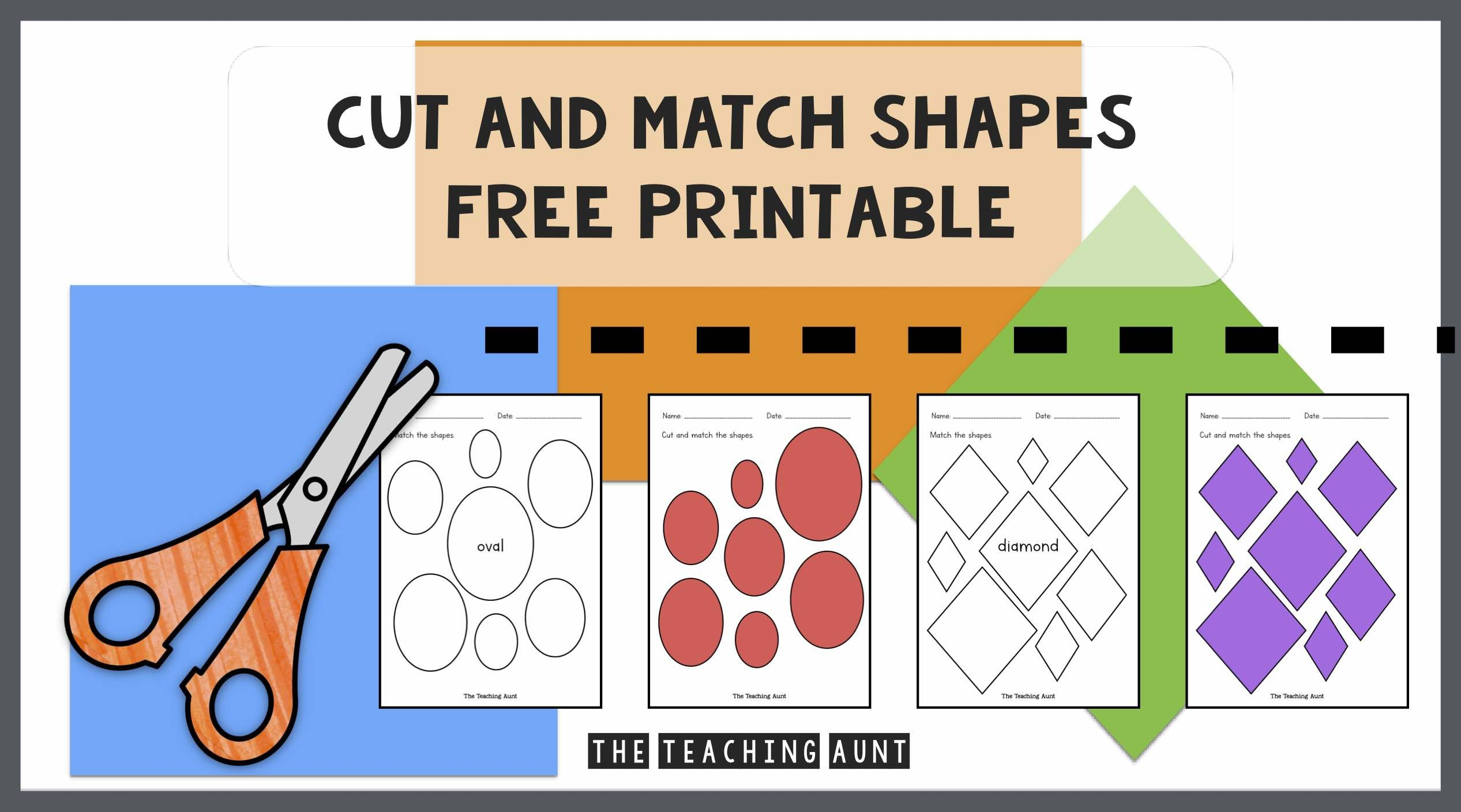 Printable Cutting Worksheets for Preschoolers Cut and Match Shapes Worksheets the Teaching Aunt
