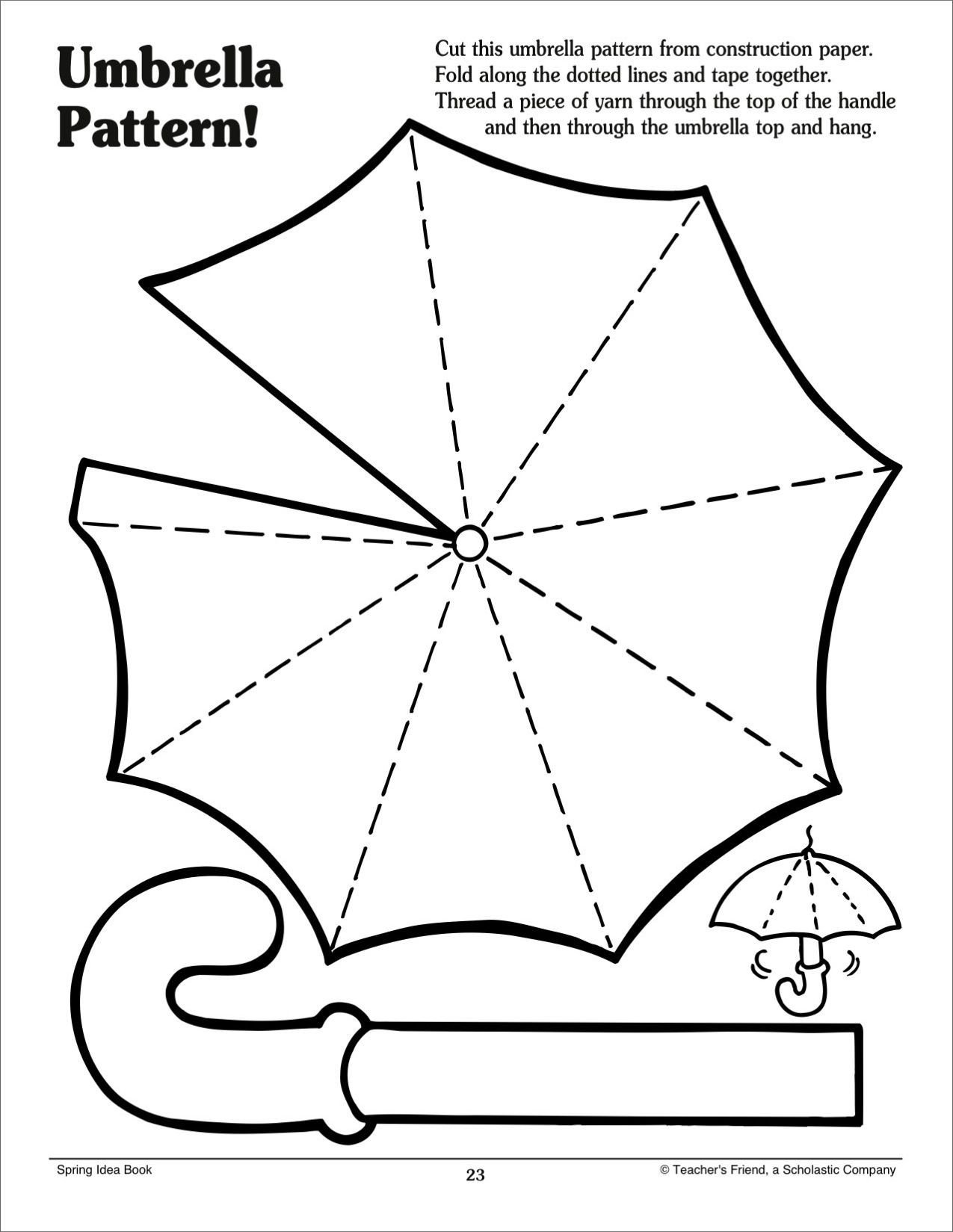 Printable Cutting Worksheets for Preschoolers Umbrella Pattern Scholastic Printables Craft Cutting Lines