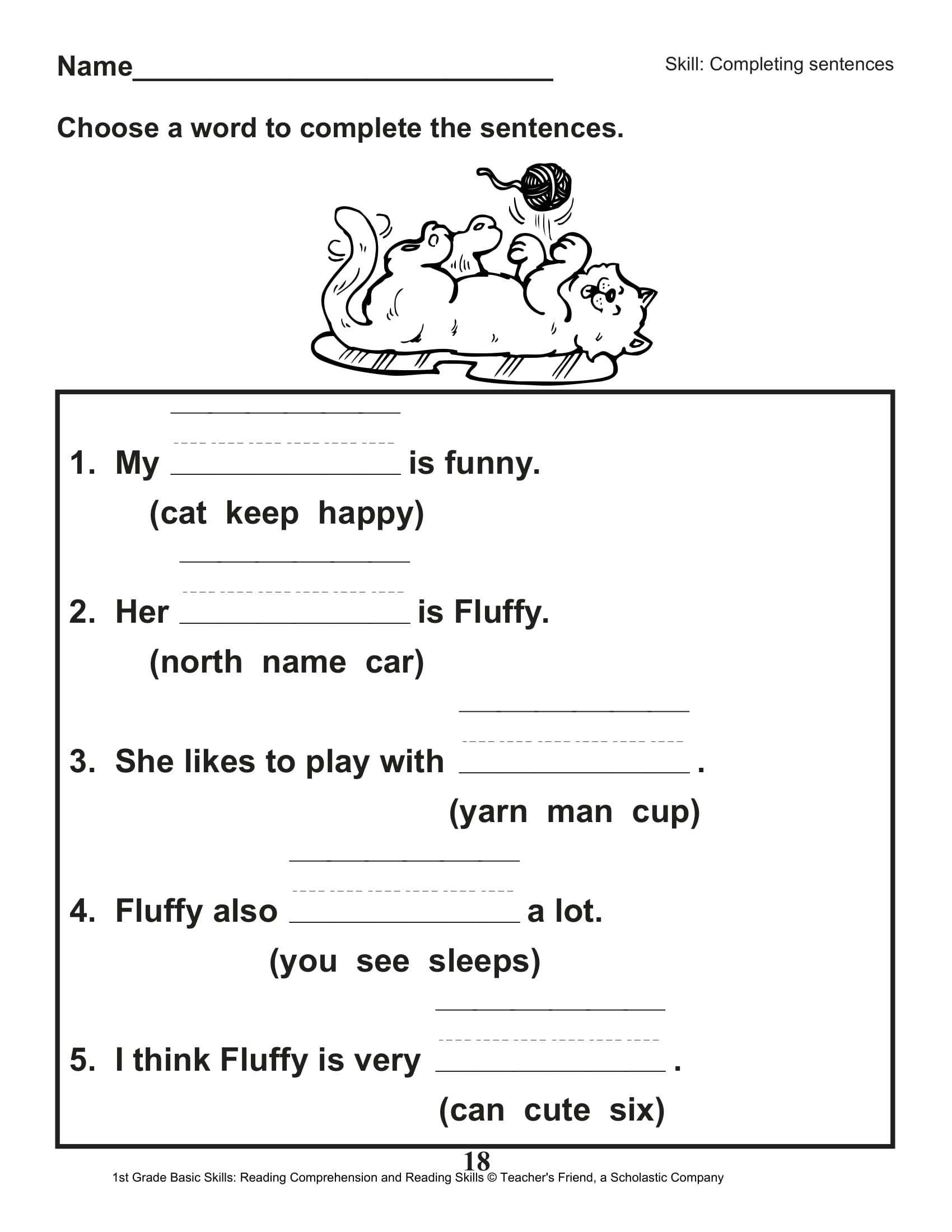 Printable First Grade Reading Worksheets Math Worksheet 63 First Grade Reading Skills Picture Ideas