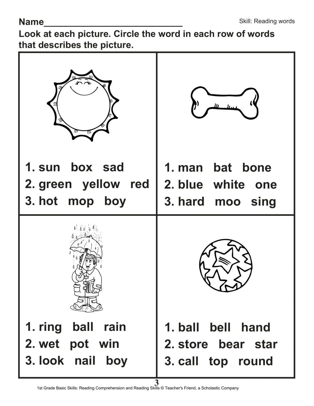 Printable First Grade Reading Worksheets Worksheet First Grade Reading Worksheets Worksheet Phonics