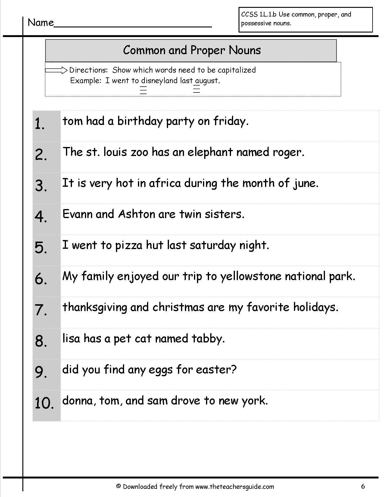 Pronoun Worksheet for 2nd Grade Capitalise Mon Proper Nouns with Images