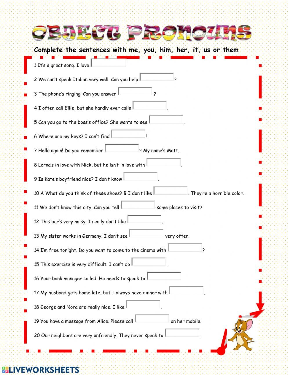 Pronoun Worksheet for 2nd Grade Object Pronouns Worksheet Worksheets Free Math College