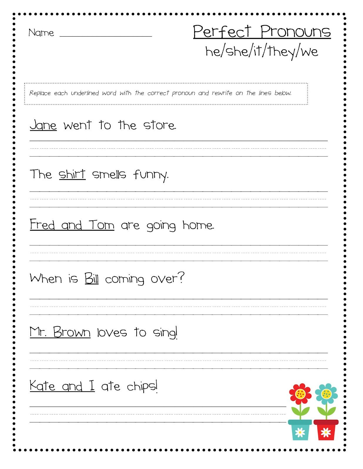 Pronoun Worksheet for 2nd Grade they Pronoun Worksheet