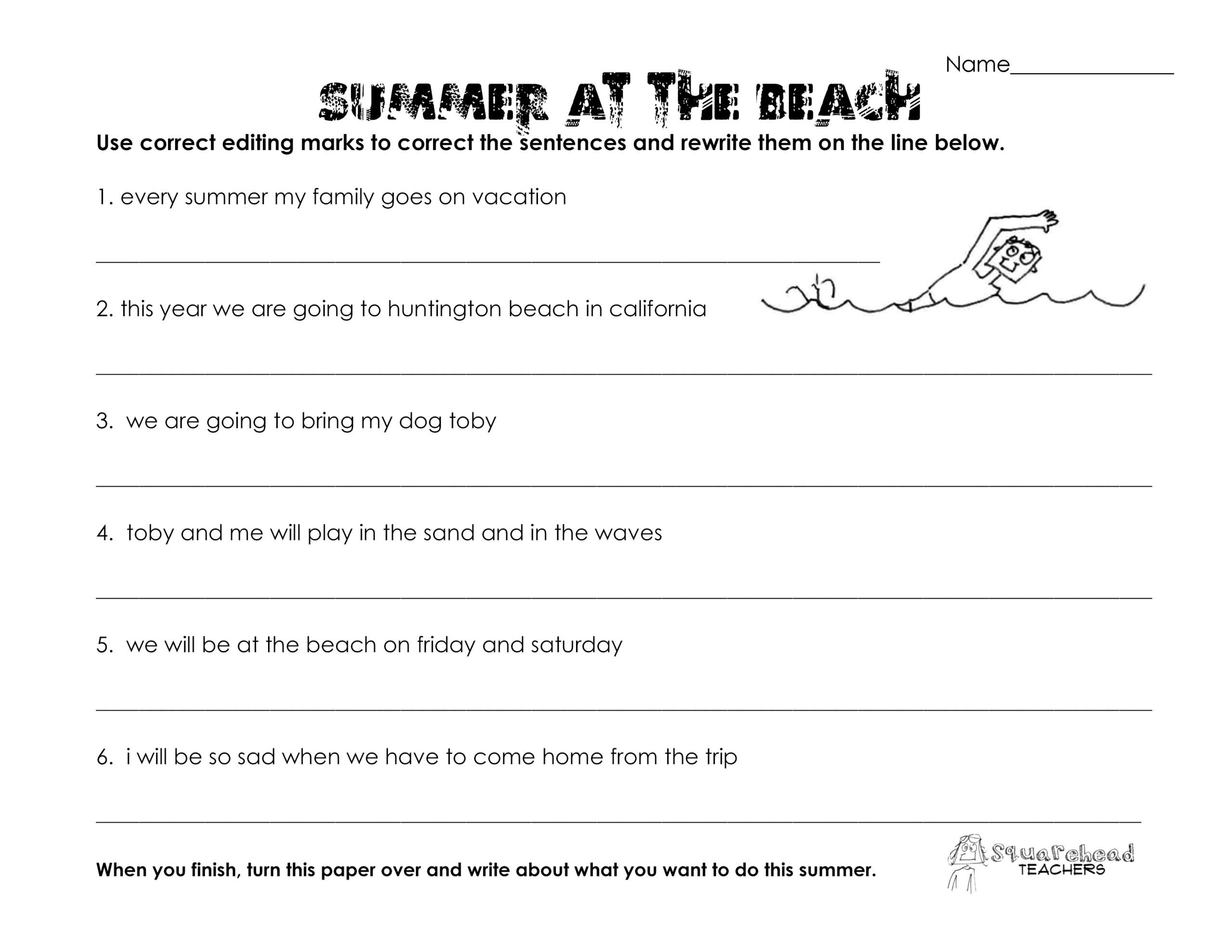 Proofreading Worksheets 3rd Grade Math Worksheet Summer at the Beach Grammar Worksheet Free