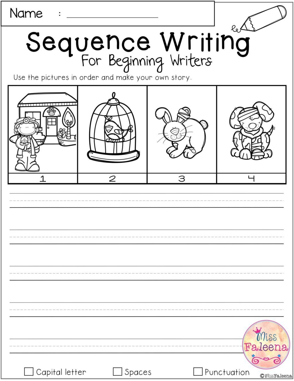 free sequence writing for beginning writers worksheets first grade students doing hands on math 1st 1024x1325