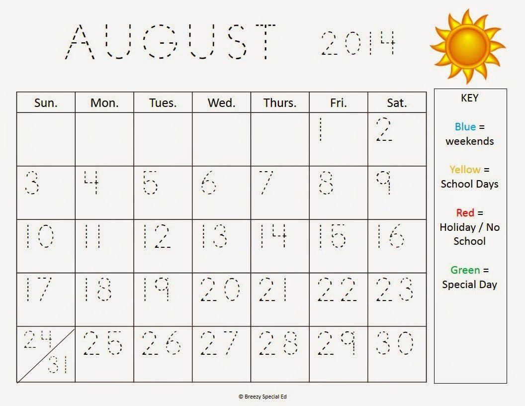 Reading A Calendar Worksheets Monthly Calendar Worksheets August Freebies