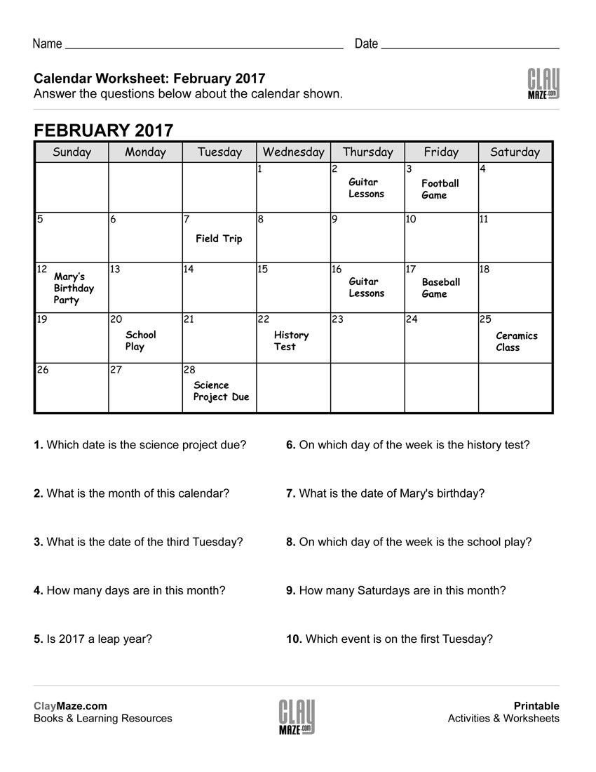 Reading A Calendar Worksheets Pin On Calendar