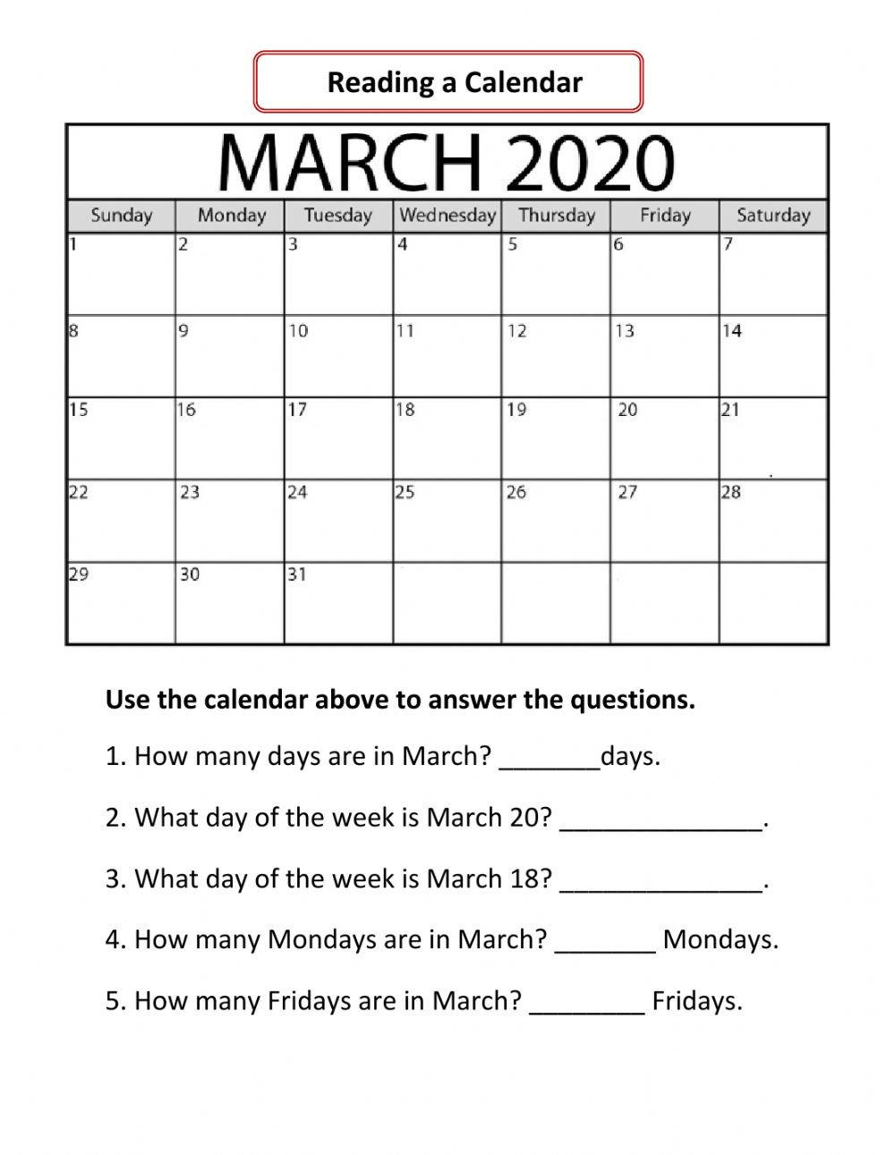 Reading A Calendar Worksheets Reading A Calendar Interactive Worksheet