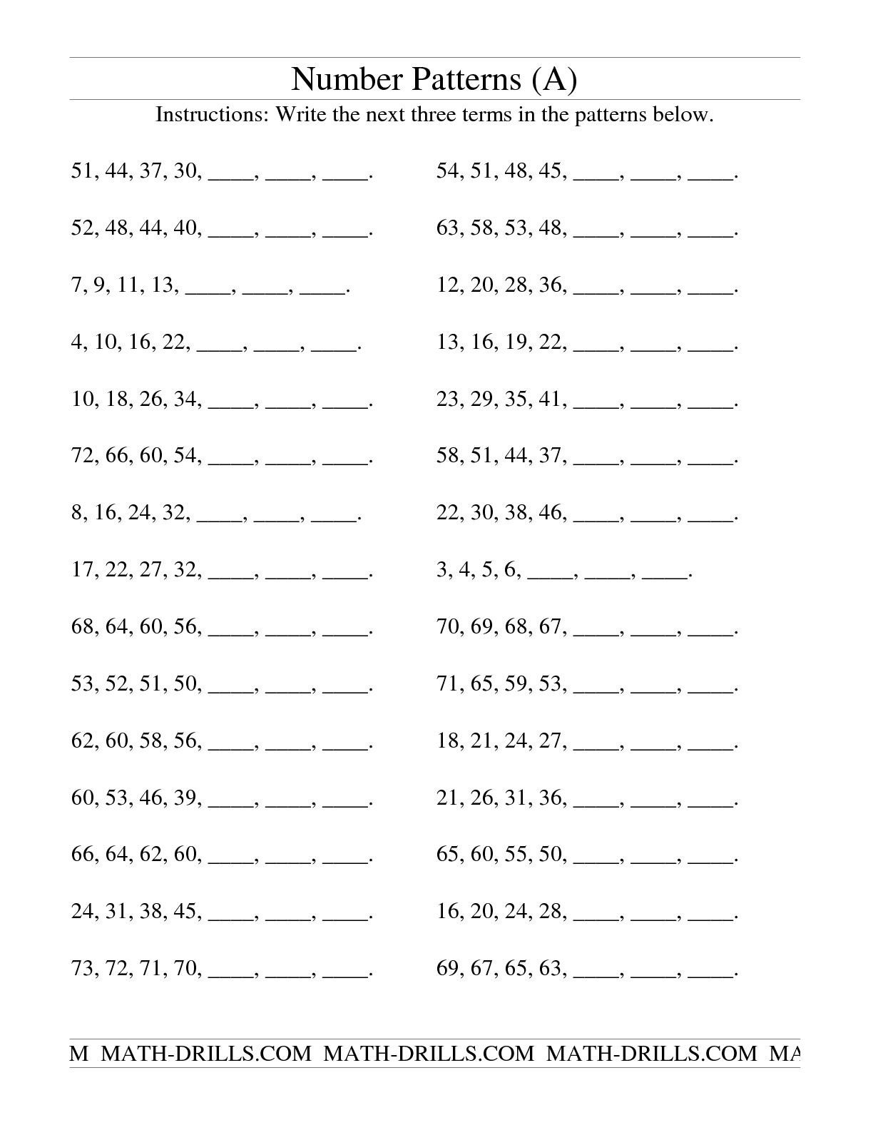 Repeated Pattern Worksheets 2nd Grade Math Worksheets Patterns