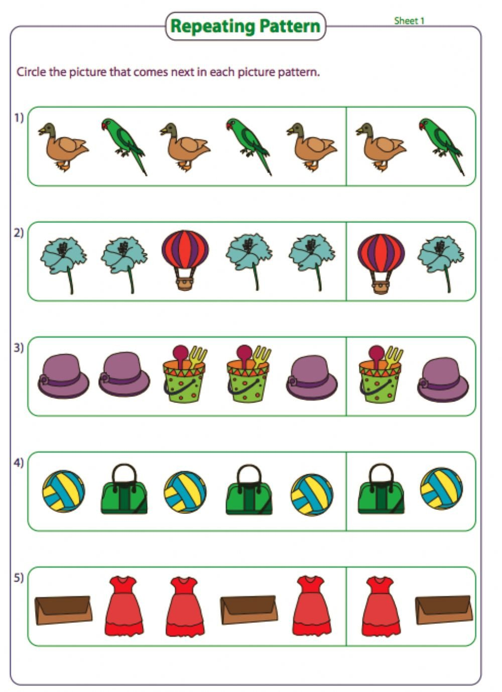 Repeated Pattern Worksheets Grade 3 Repeated Pattern Interactive Worksheet