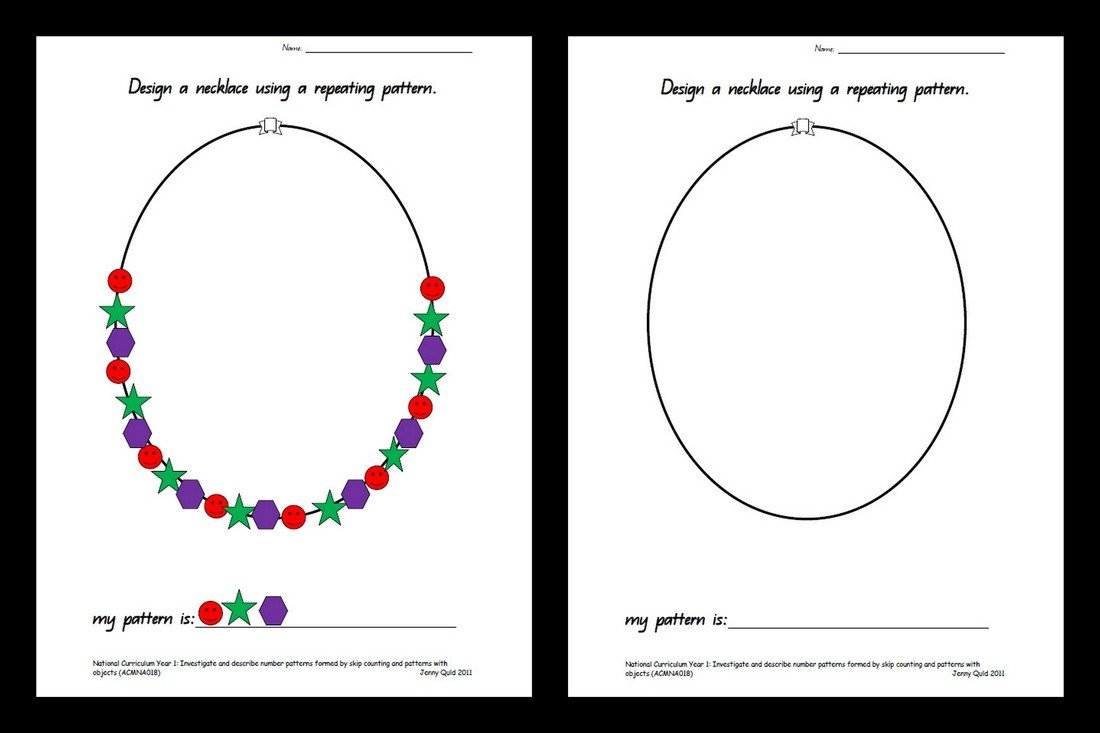 Repeated Pattern Worksheets Group 3 Design A Necklace River Oaks Public School