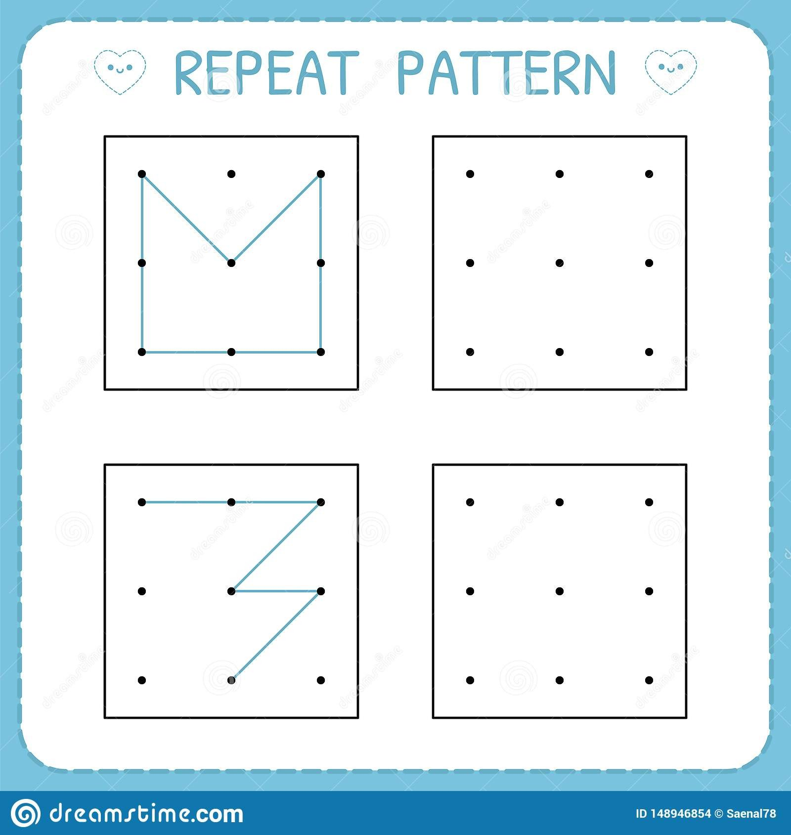 Repeated Pattern Worksheets Math Worksheet Repeat Pattern Working Pages for Kids