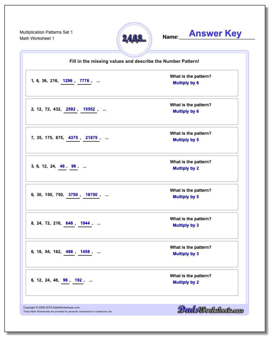 Repeated Pattern Worksheets Number Patterns