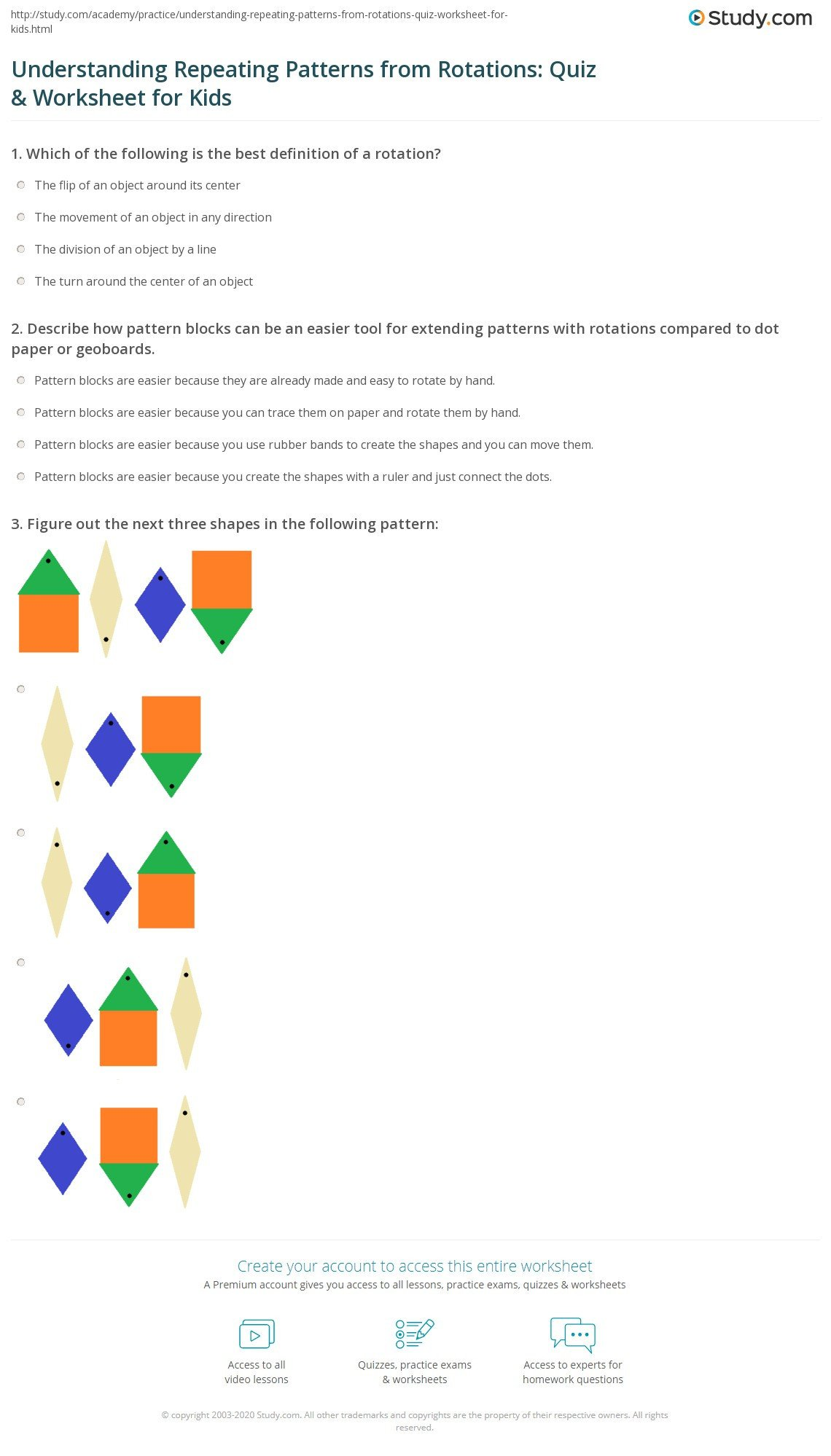 understanding repeating patterns from rotations quiz worksheet for kids
