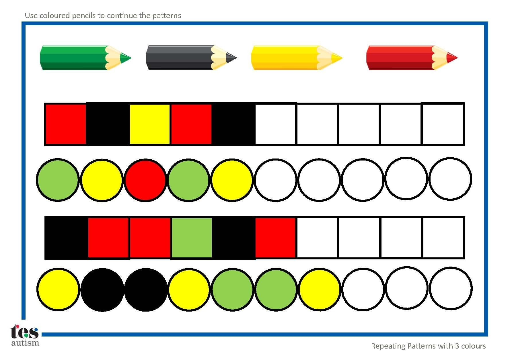 Repeated Pattern Worksheets Repeating Patterns with 3 Colours 4 Worksheet Activities