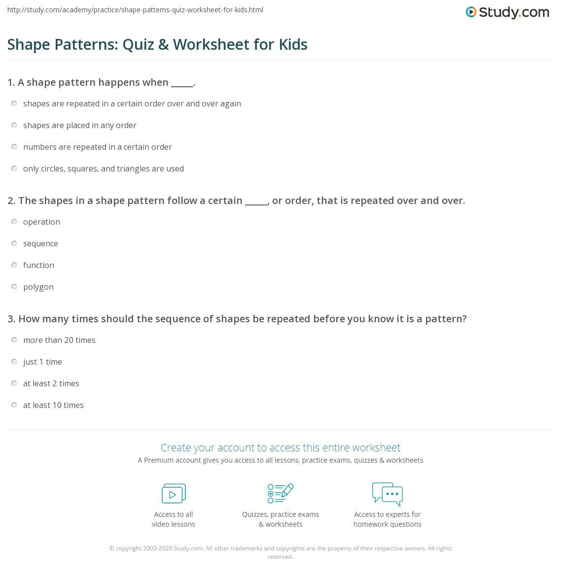 Repeated Pattern Worksheets Shape Patterns Quiz & Worksheet for Kids