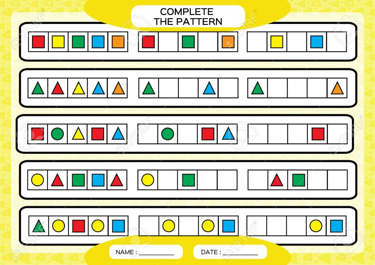Repeating Pattern Worksheets Plete Simple Repeating Patterns Worksheet for Preschool Kids