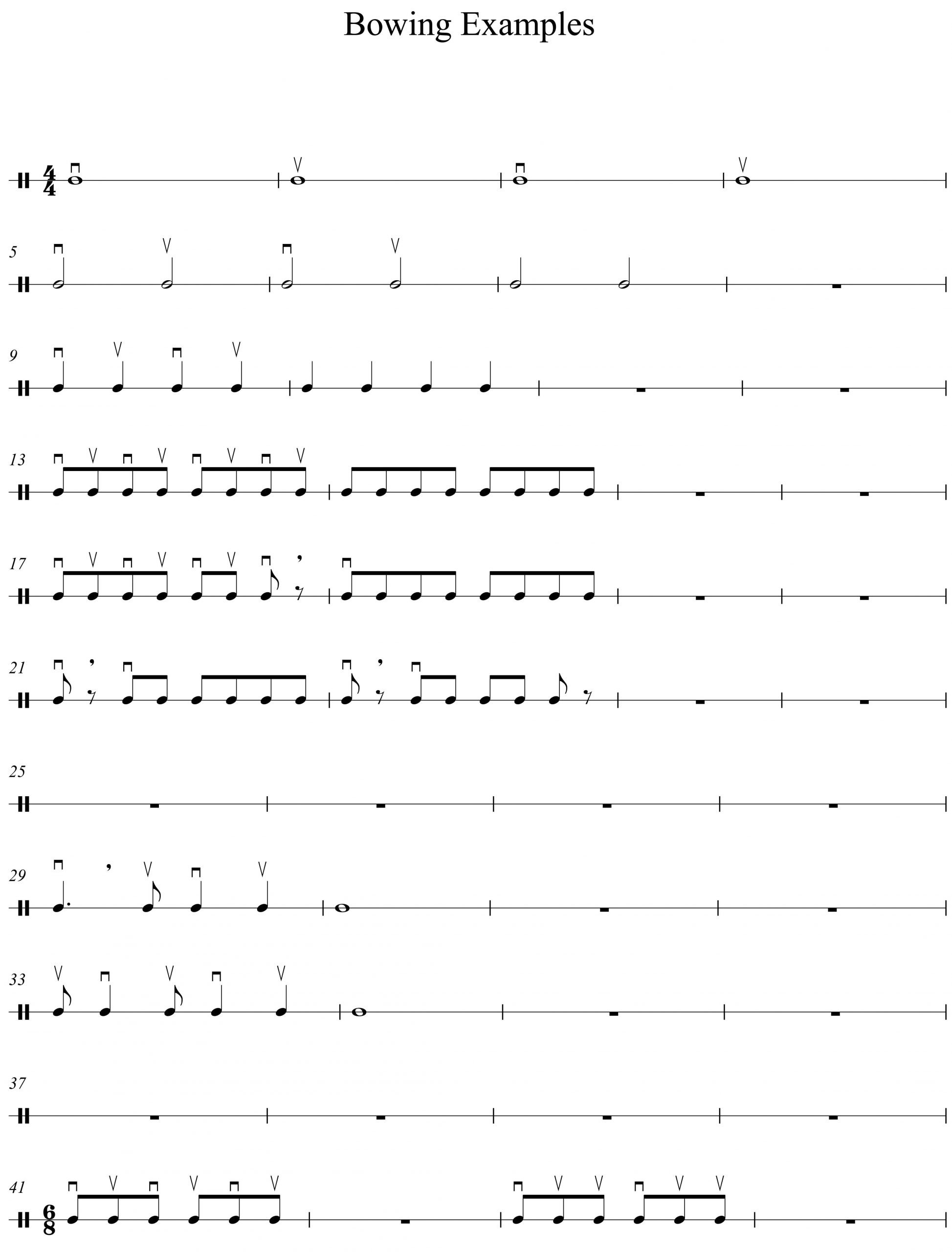 Rhythm Worksheets for Band More Help On Bowing for Young Players – Mostlybass