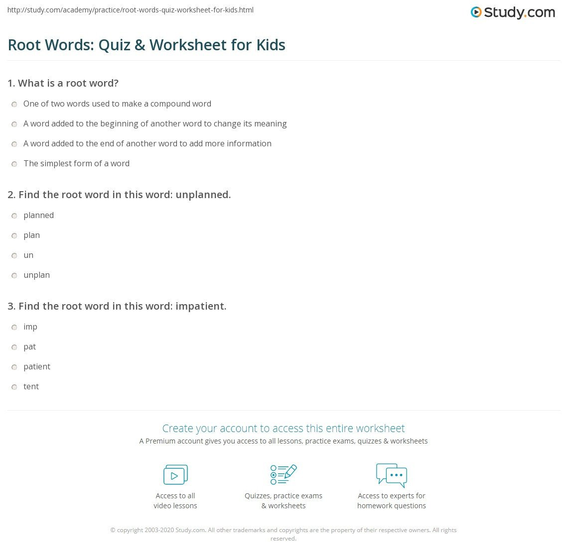 Root Word Worksheets 4th Grade Root Words Quiz & Worksheet for Kids
