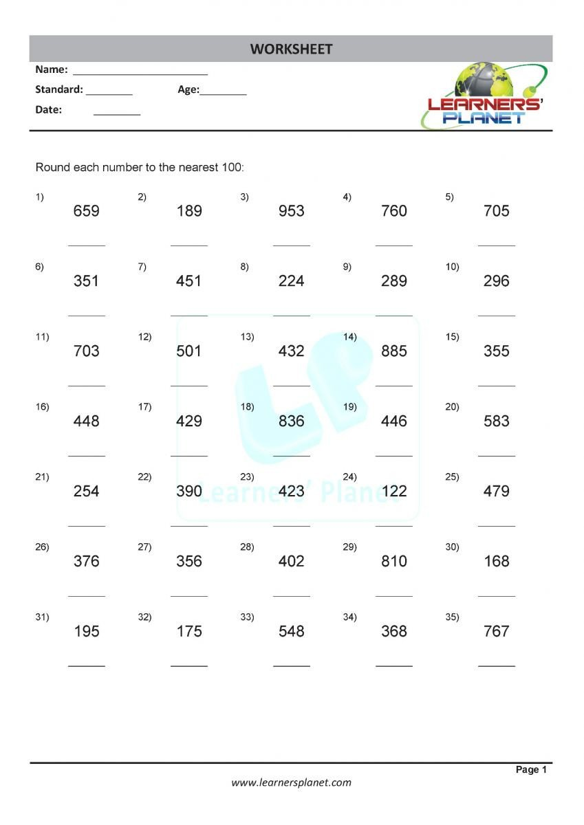 rounding numbers class 3 math practice worksheets