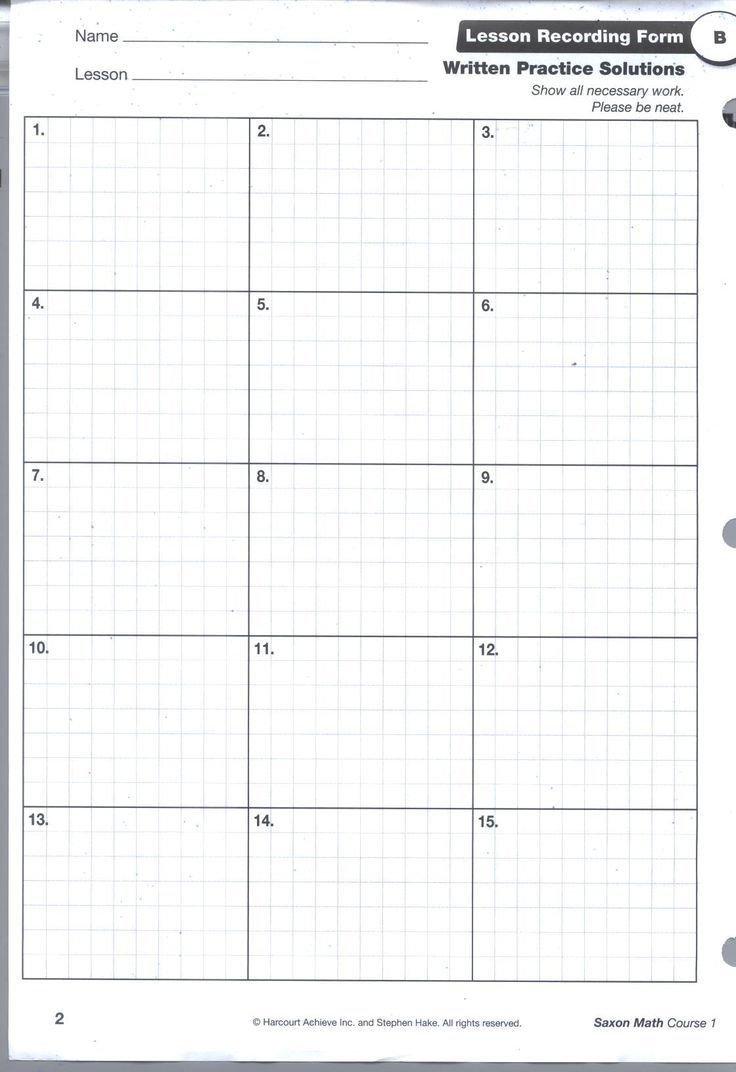 Saxon Math Grade 3 Worksheets Saxon Math Homework Sheets