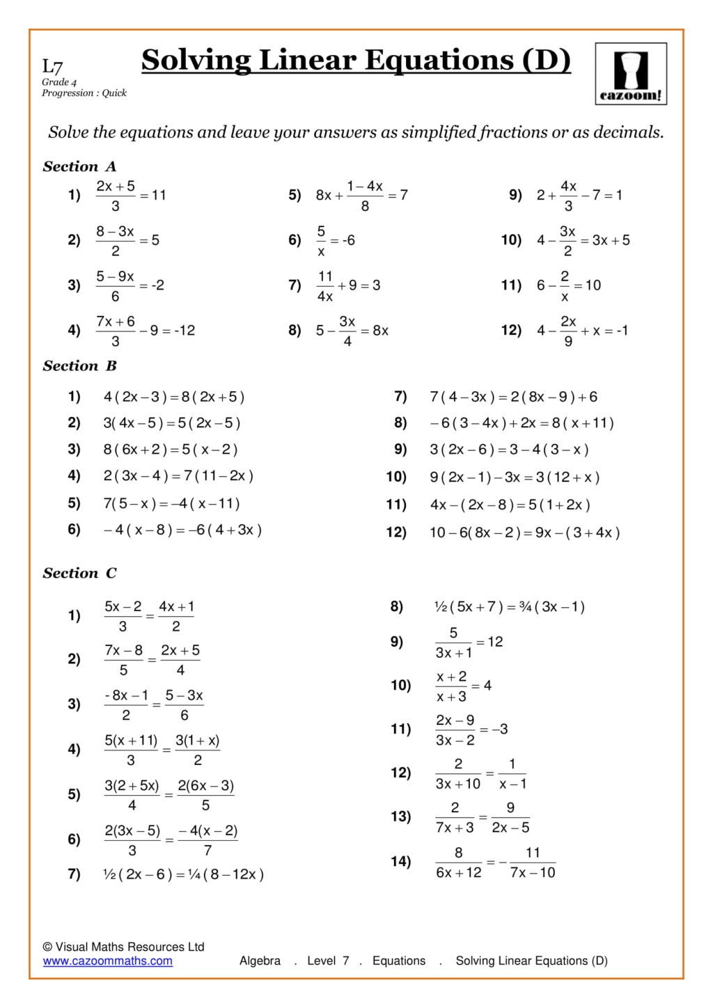 Saxon Math Grade 3 Worksheets Worksheet Algebra Level Equations solving Linear Min