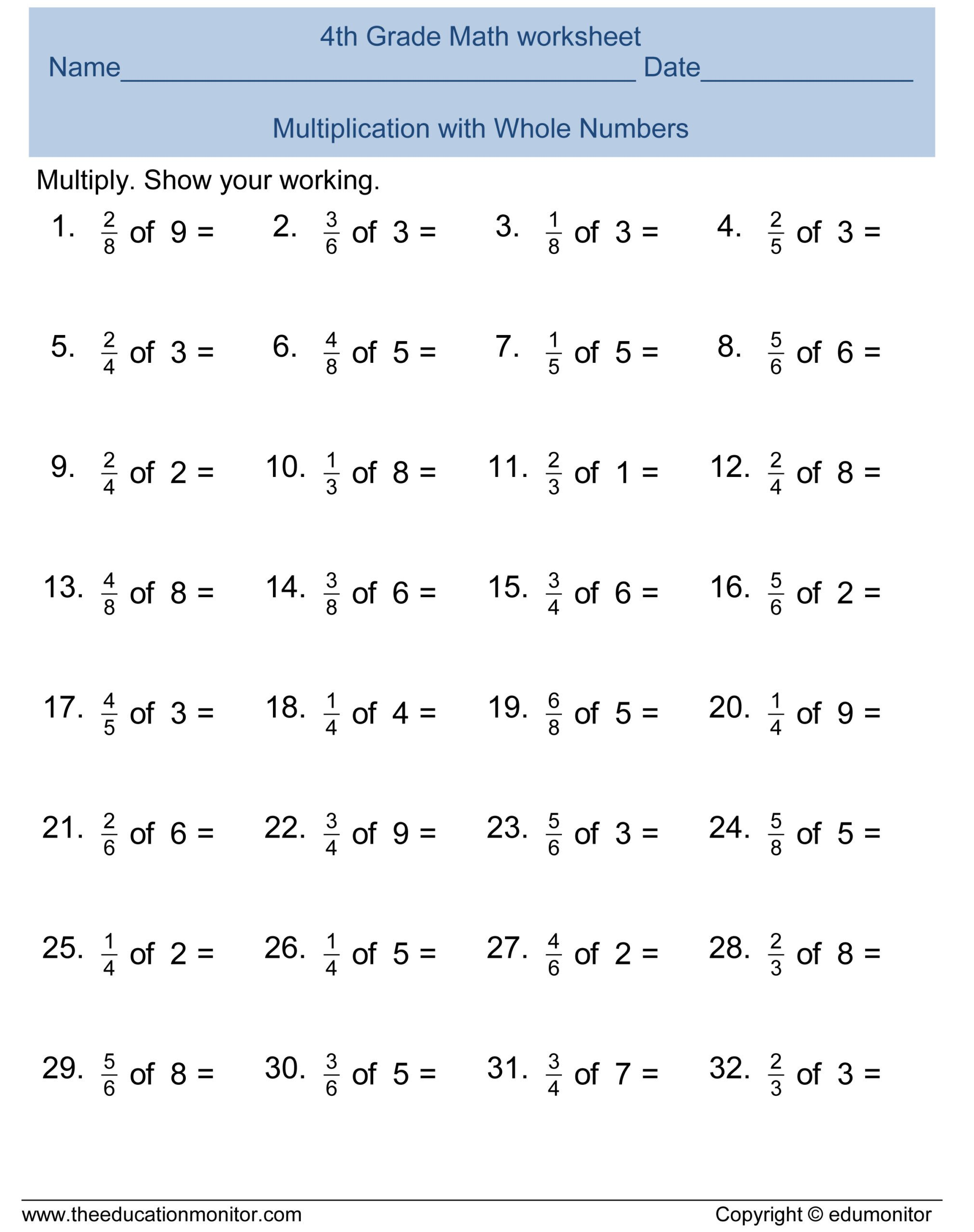 free 4th grade fractions math worksheets and printables edumonitor with answer kumon scaled