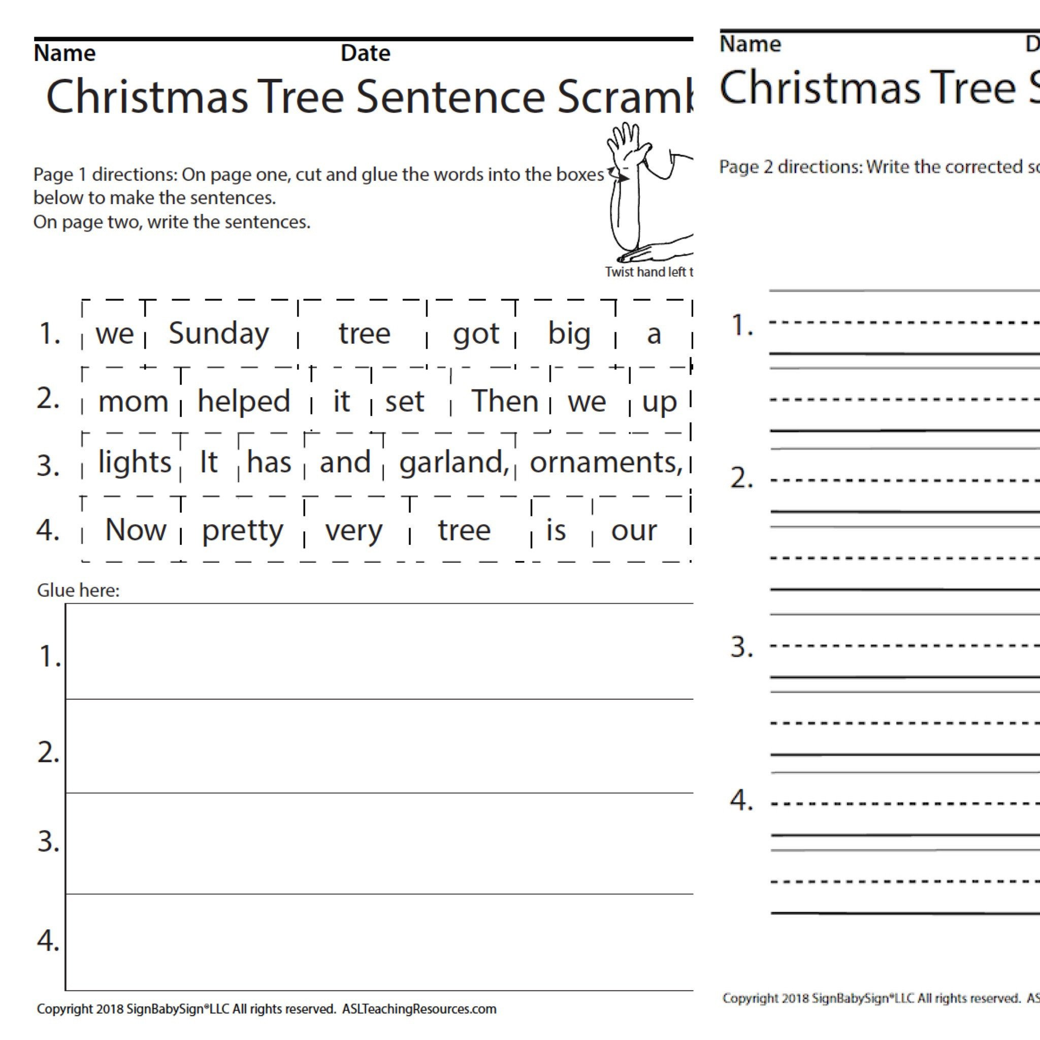 Scrambled Sentences Worksheets 2nd Grade Christmas Tree Scrambled Sentences