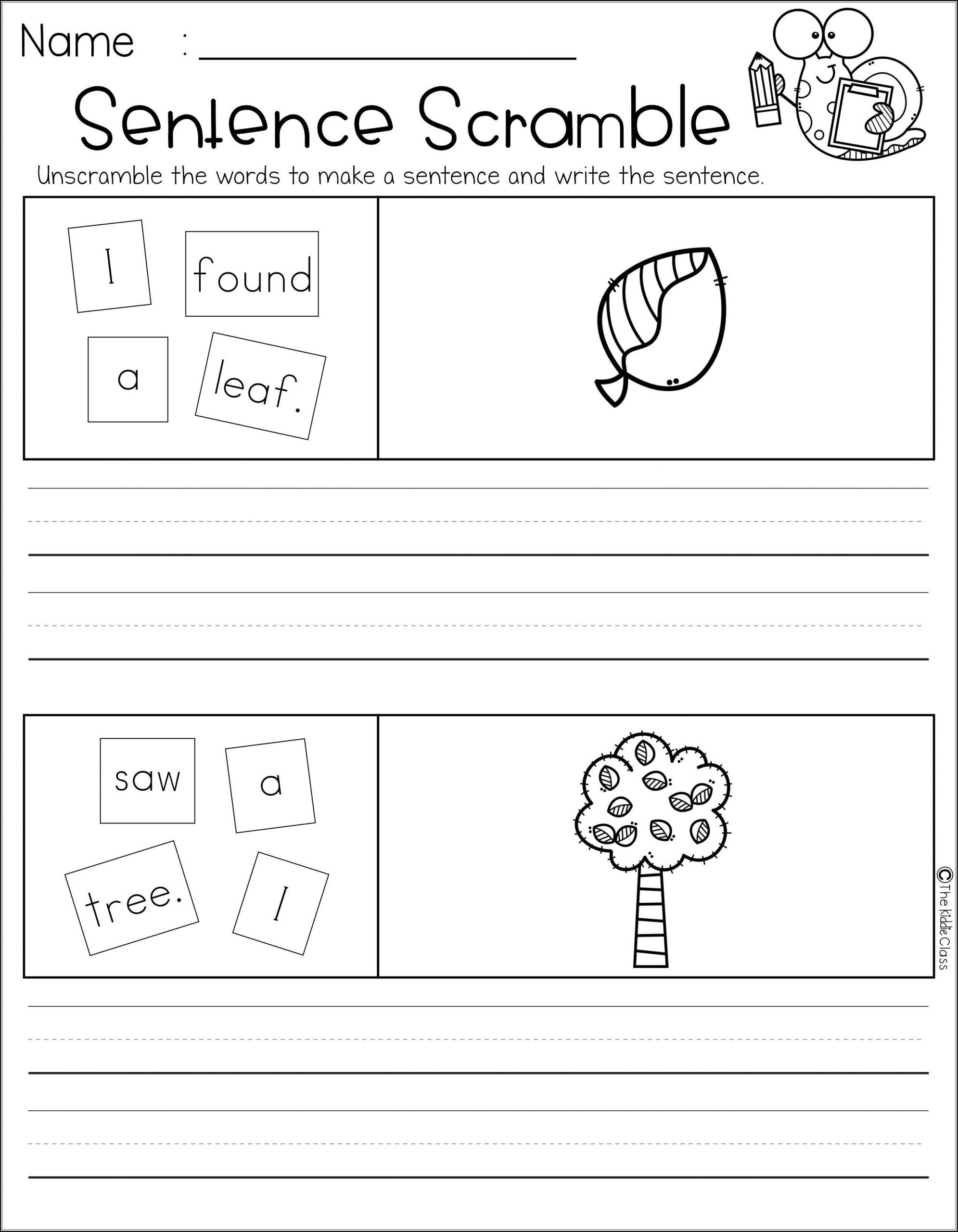 Scrambled Sentences Worksheets 2nd Grade Free Sentence Scramble
