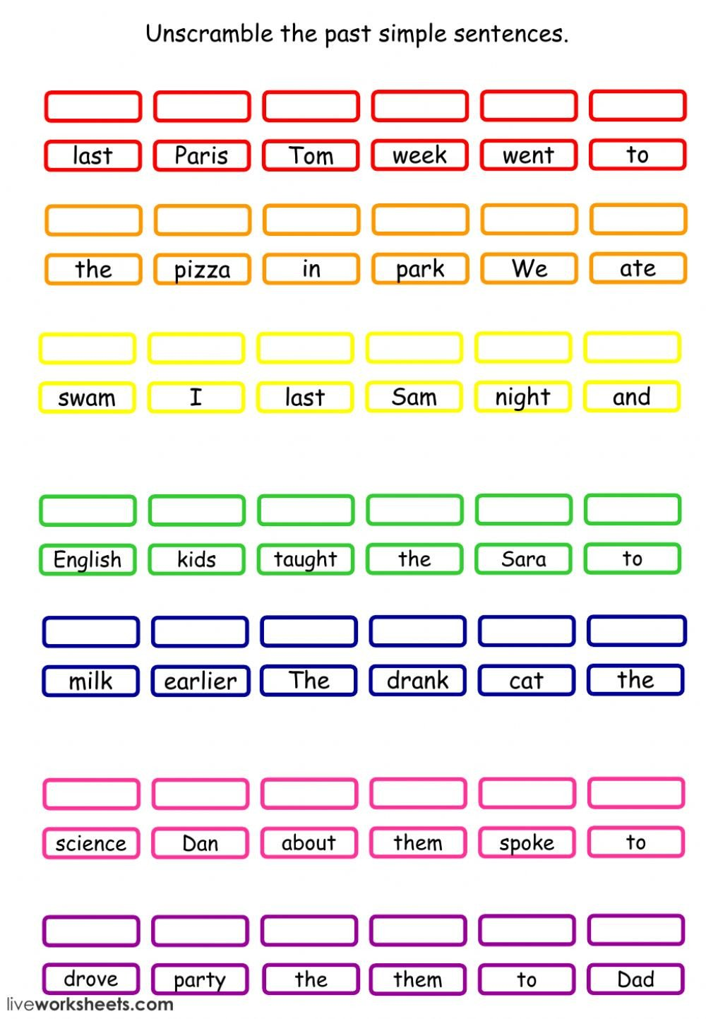 Scrambled Sentences Worksheets 2nd Grade Past Simple Unscramble the Sentences Interactive Worksheet