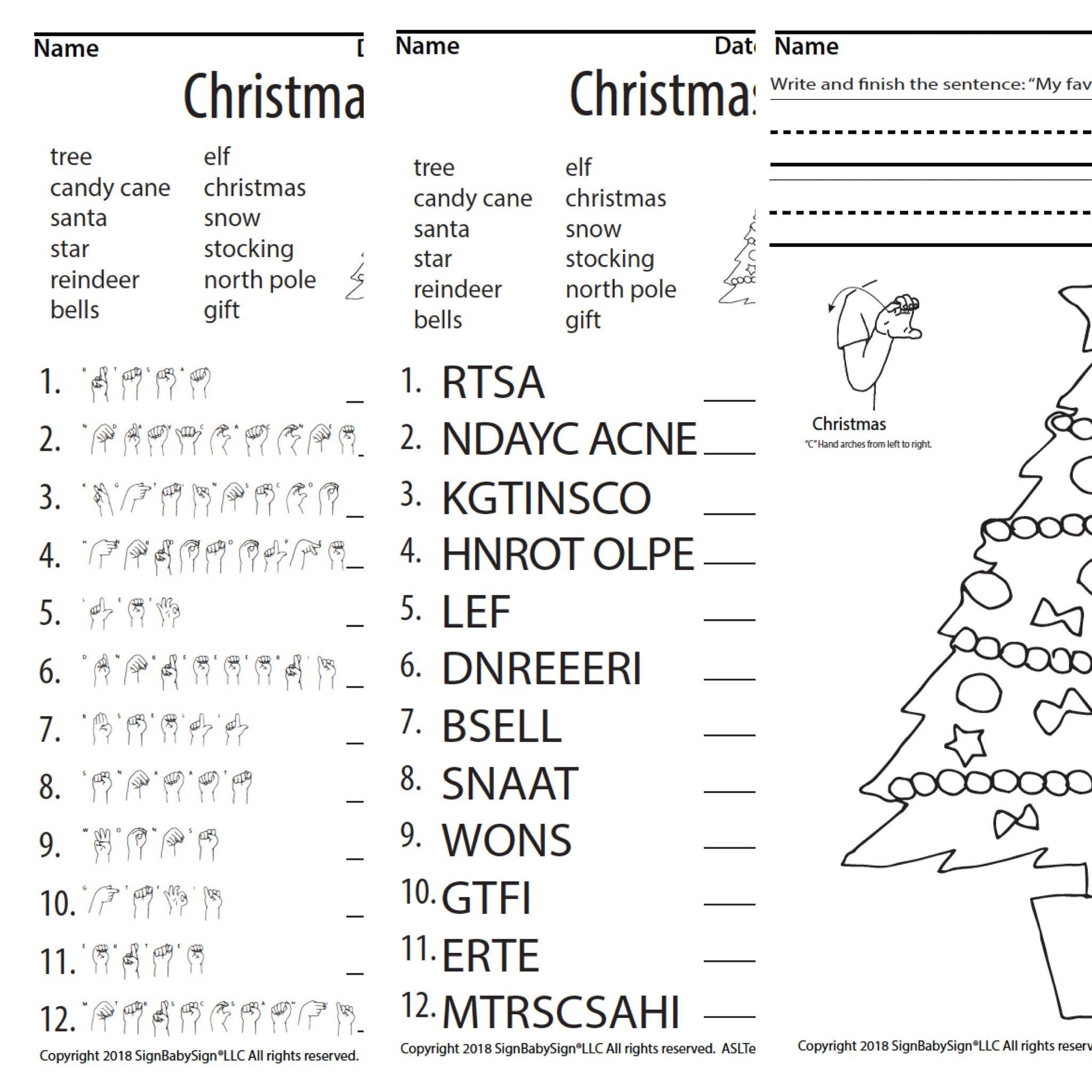 Scrambled Sentences Worksheets 3rd Grade Christmas Tree Scramble