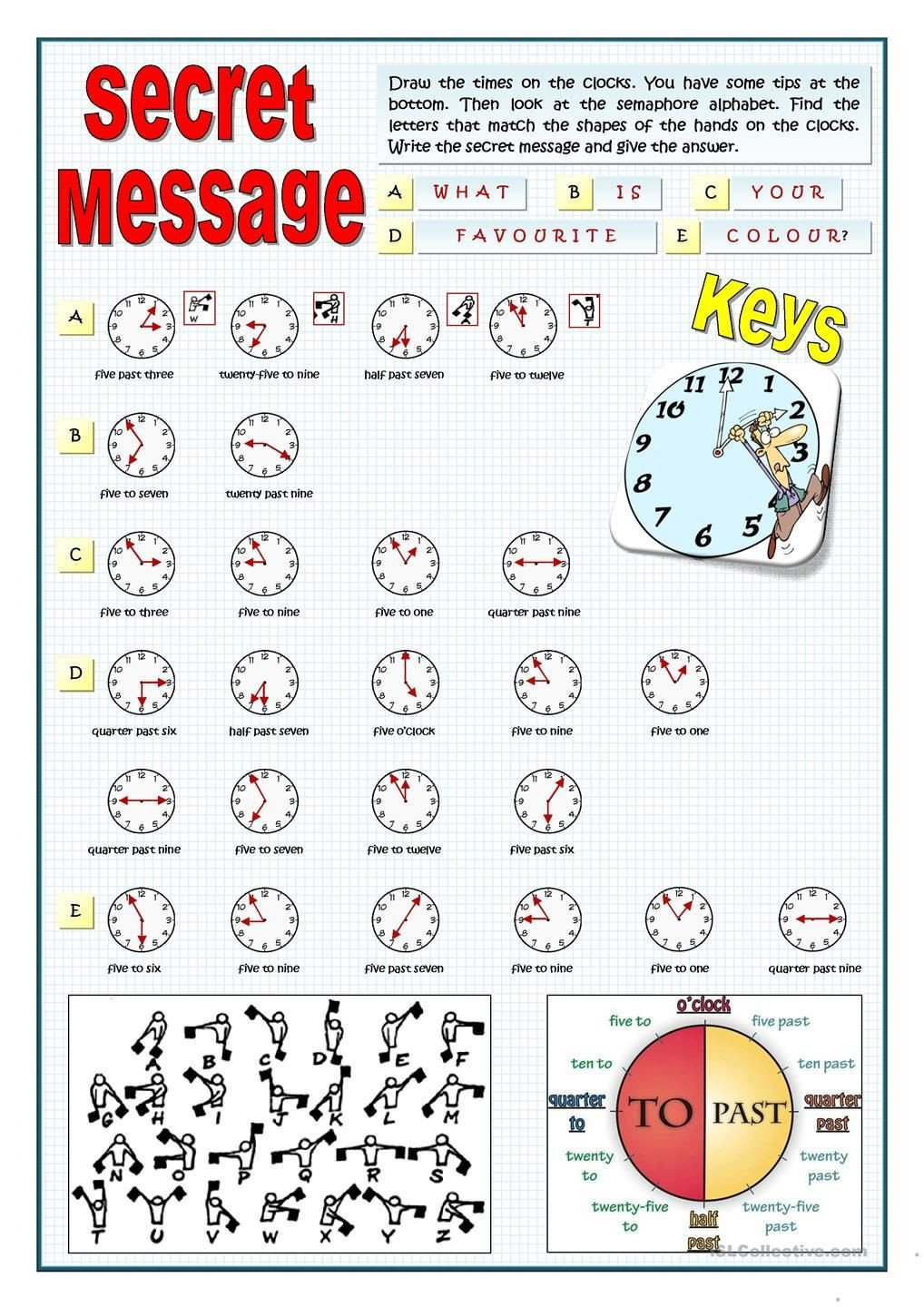 Secret Message Worksheets Secret Message Draw the Time