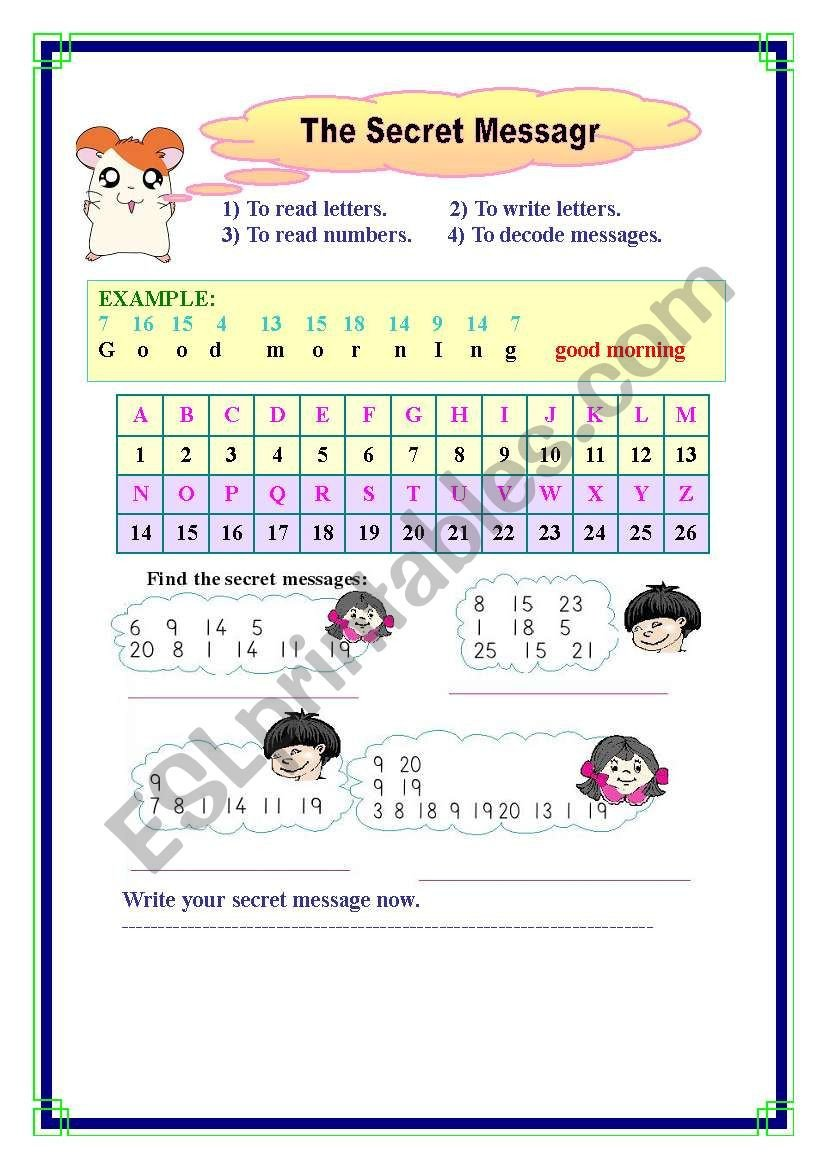 Secret Message Worksheets the Secret Message Esl Worksheet by Alzahaira