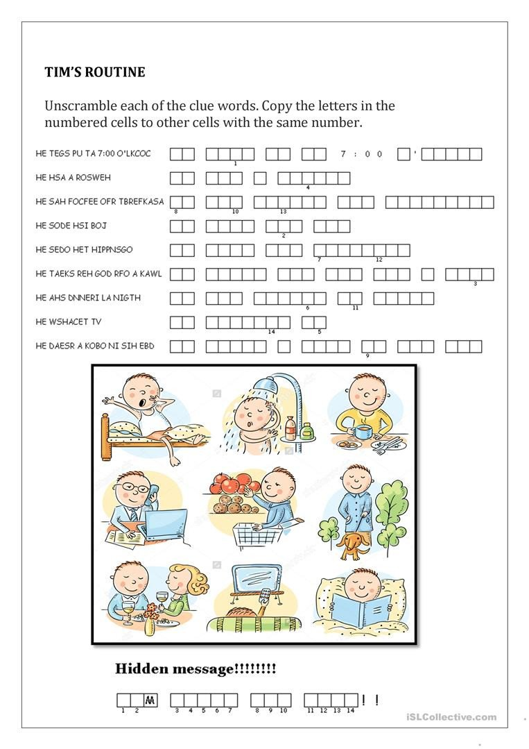 Secret Message Worksheets Tim S Routine Hidden Message English Esl Worksheets for