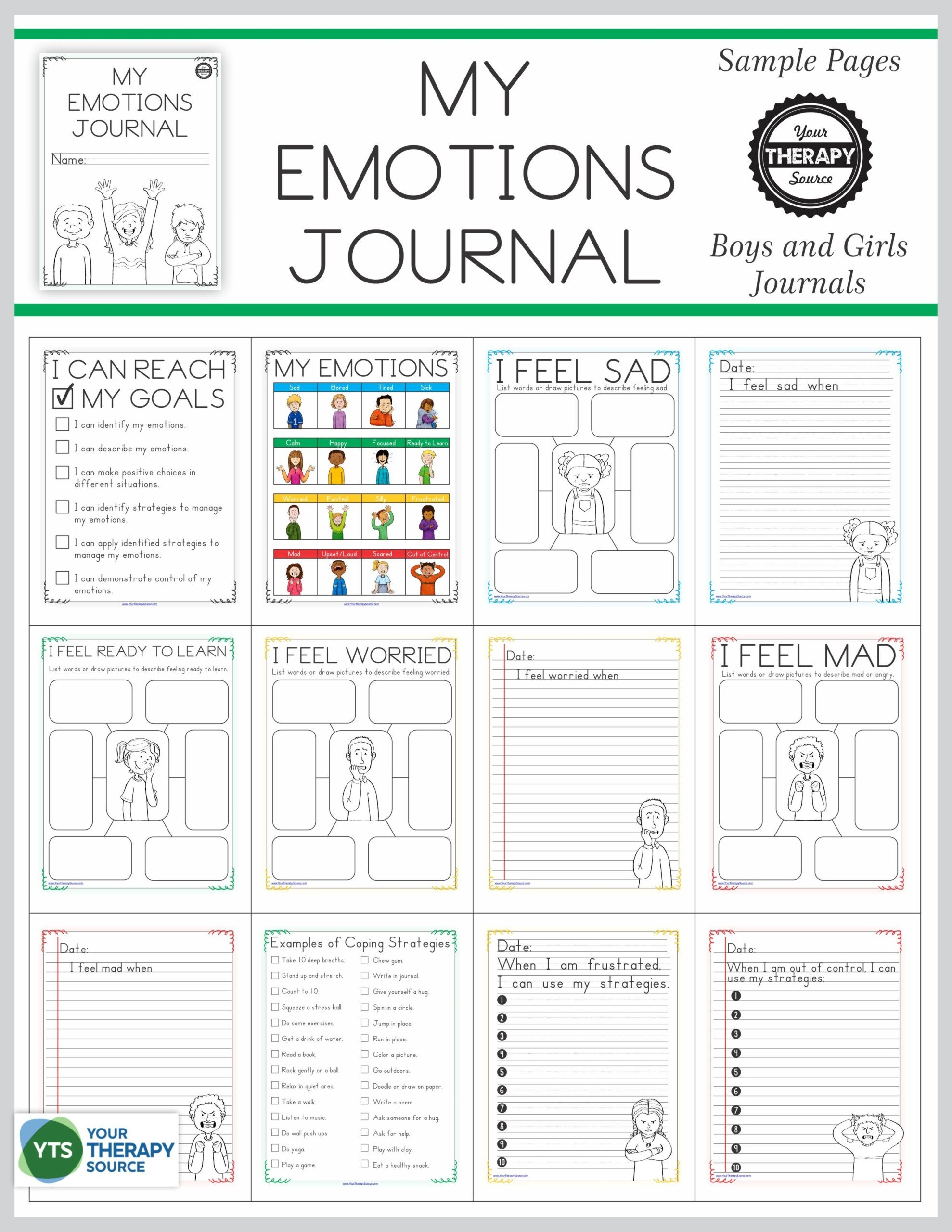 My Emotions Journal Cover and Sample Pages scaled