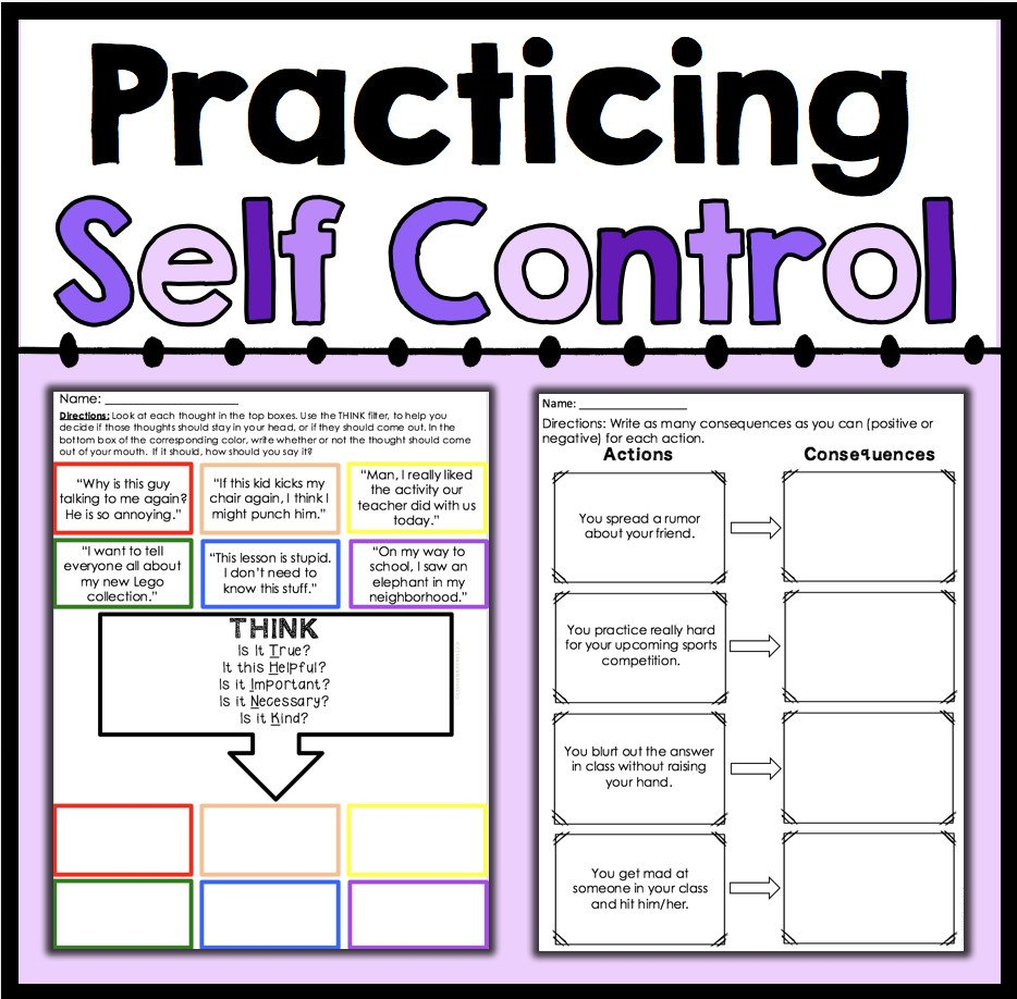 practicing self control counselorchelsey on tpt counseling free printable self control worksheets