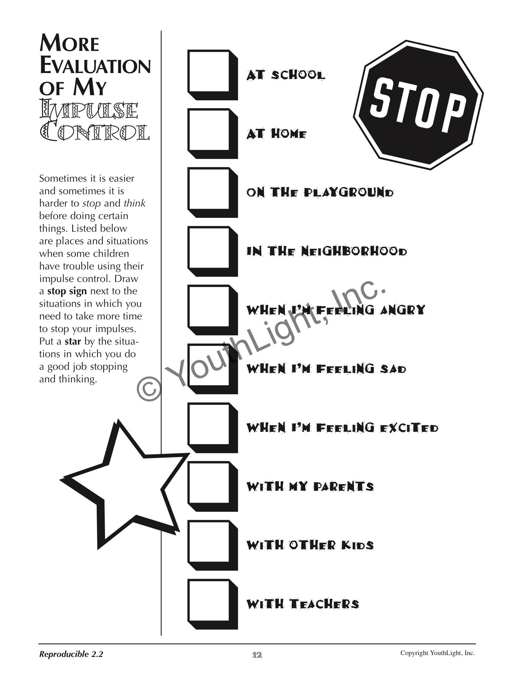 Impulse Control Activities Worksheets for Elementary Students with CD by Tonia Caselman 16