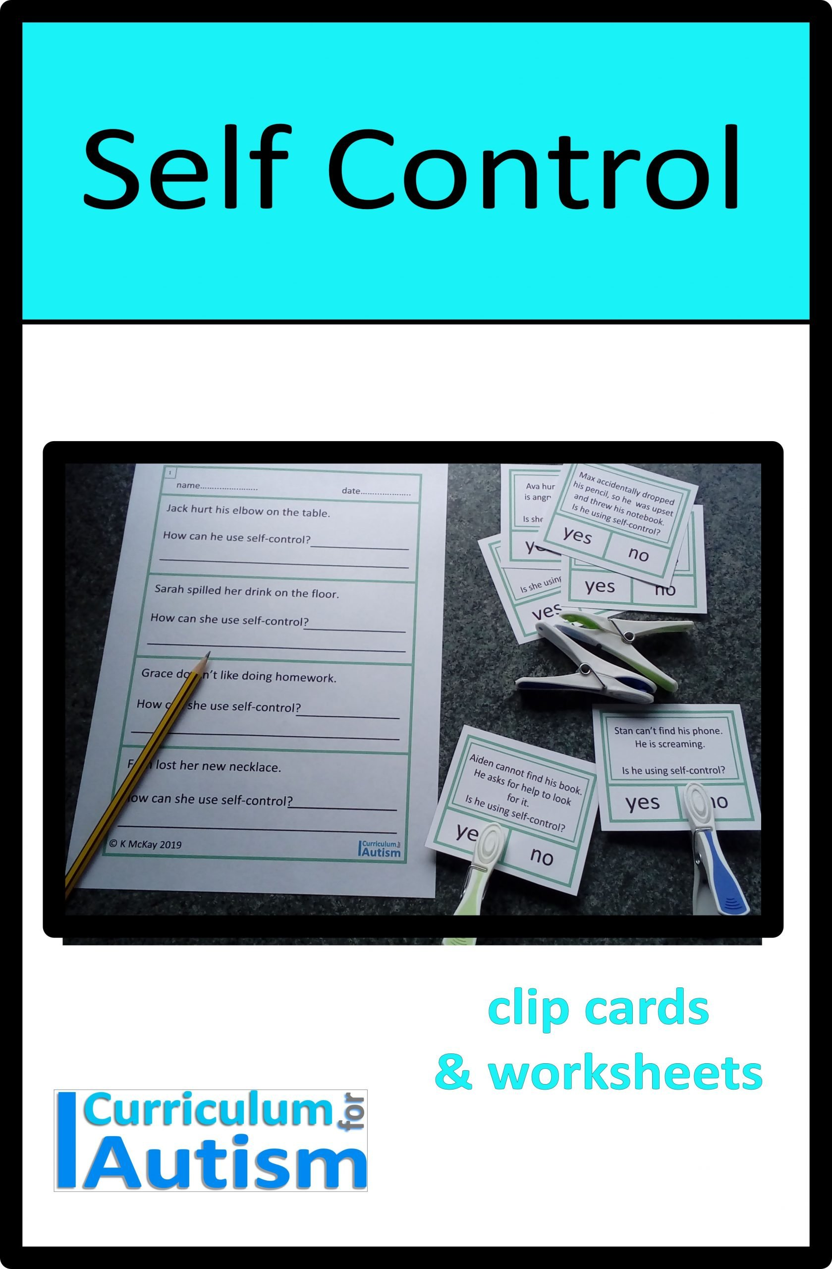 Self Control Worksheets Self Control Cards & Worksheets