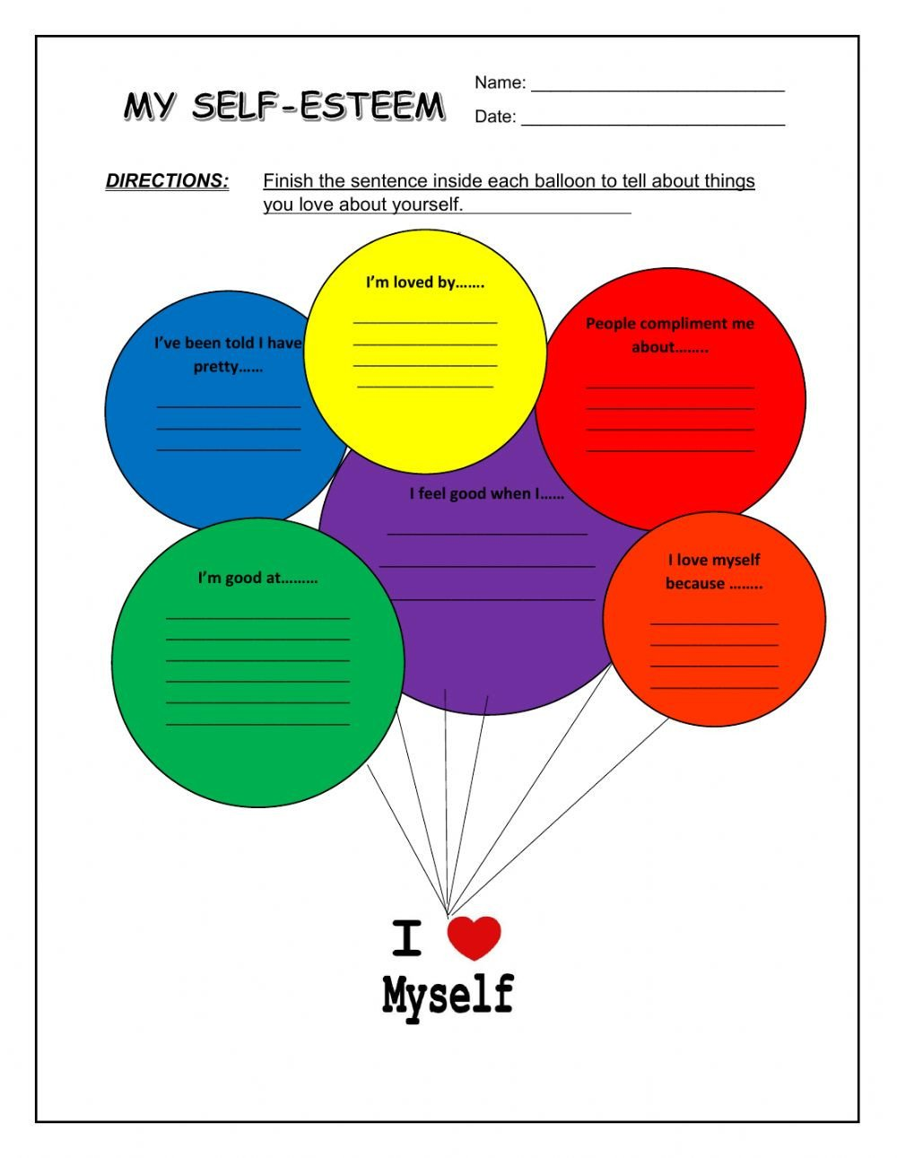 Self Esteem Activities Worksheets My Self Esteem Activity Sheet Interactive Worksheet