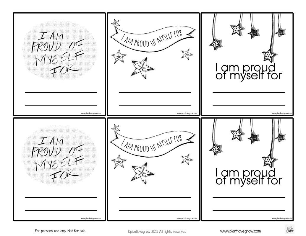 Self Esteem Activities Worksheets Self Esteem Plant Love Grown